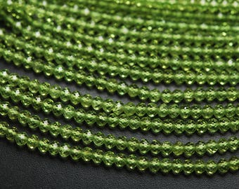 13 Inches Strand,AAA Quality,Natural Peridot Faceted Rondelles Large Size 4.20mm