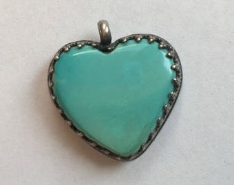 vintage turquoise and sterling pendant