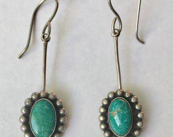 vintage sterling and turquoise drop earrings