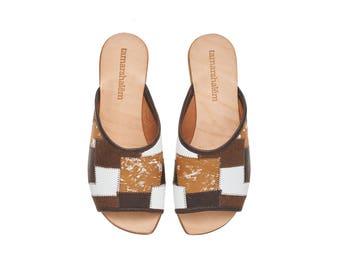 Brown leather sandals, Helena, flat sandals, handmade