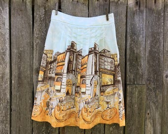 Vintage skirt Yellow printed skirt M -size Midi pleated skirt
