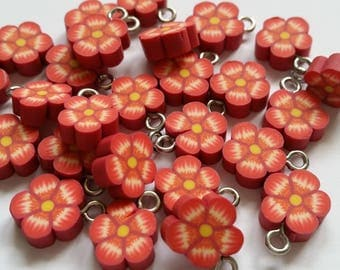 1 Center red flower pendant polymer clay yellow