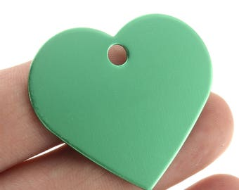 Medal heart Green Aluminum engraving stamping 33 x 37 mm id tag