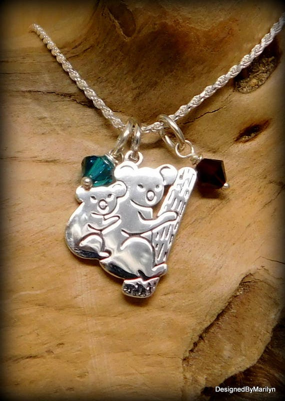 Sterling silver mother and baby koala bear necklace, birthstone necklace, mothers gift