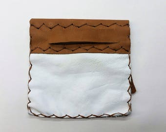 White utility Pouch, White Leather Pouch, Medium Leather Pouch, White Leather Fold Over Pouch, Simple Slot Leather Pouch