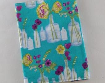 Fabric passport cover - Flowers in jars