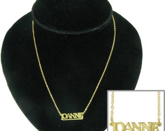 Joanne Gold Tone Name Charm Pendant Necklace Vintage 1970s