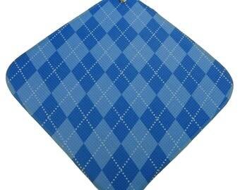 Light-Blue-Blue-Argyle Print Microfiber Golf Towel