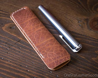 Pen Sleeve size large - hand stitched Horween leather - rough tan