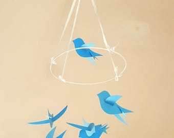 """The large mobile paper """"Birds"""" blue and sky blue"""