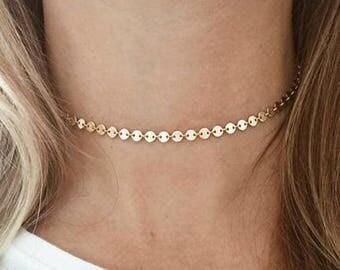 Disc Chain Choker, 14k Gold Fill Choker, Disc Necklace, Minimalist, Gold Choker, Bridesmaid Gift
