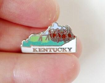 Kentucky Pin, Kentucky State Jewelry, Bluegrass State Pin, Cloisonne Jewelry, KY Enamel Pin, United States, MAFCO Kentucky, Horse Racing