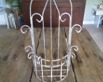 Vintage Rustic Scrolly Metal Ornate Wall Hanging or Shelve Shabby French Country