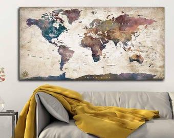 World map canvas etsy world map canvas watercolor artworld map push pinworld map travelworld gumiabroncs Images
