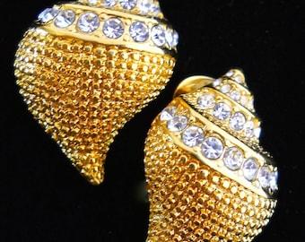 KENNETH J LANE KJL Rhinestone Seashell Earrings, Gold Tone, Vintage