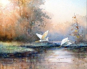 White Egrets Flying-Art Tile Print on Ceramic with Hook or with Feet Indoor Use -Nature, Birds