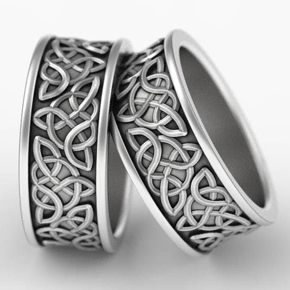 Celtic Wedding Ring Set With Raised Relief Knotwork Design in Sterling Silver, Made in Your Size CR-66