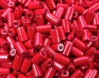 Poppy Red Wood Tube Beads Satin Varnished Plain Simple Round Smooth Ball Wooden Bead Spacers 8mm Choose 50pcs, 200pcs or 400pcs