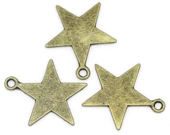 10 large stars of 23mm (ring), bronze metal