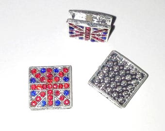 1 metal bead and UNION JACK British flag Shamballa Crystal
