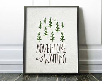 Nursery Wall Art PRINTABLE - Woodland Theme - Adventure is waiting - Baby Shower Gift -Nursery Decor - Inspirational - SKU:452