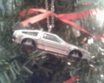 Hot Wheels Christmas Ornament DeLorean Back to the Future Car Flying DeLorean Tree Decoration Classic Car Gift for Him Stocking Stuffer