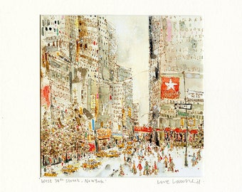 NEW YORK HOLIDAY, Snowing in New York,  Print, New York Watercolor, West 34th Street Drawing, Snowy Painting Nyc, New York Holidays Art
