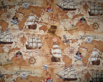 Pirate print fabric - Half yard x 1