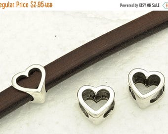 HOT DEAL 2-Open Heart Frame Slider - for use with 10x6mm Licorice Leather