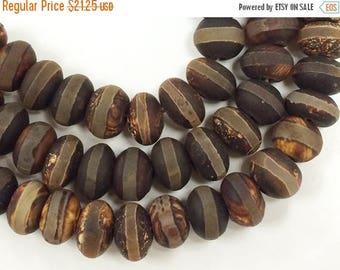 25% OFF 13mm Tibet Agate Gemstone Brown Rondell Beads Hand Painted 43 Beads, Tibetan Agate, 13mm x 8mm - SAGT190AC