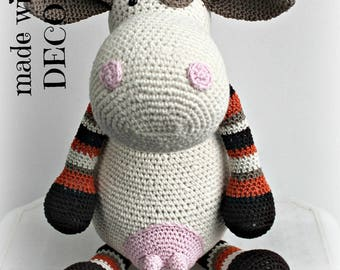 Handmade stuffed cow beige...