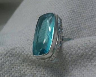 Blue Topaz Sterling Silver Ring Solitaire Detailed Unique BoHo Chic  Large Statement  Deep Rich Clear Ocean Water Sparkle