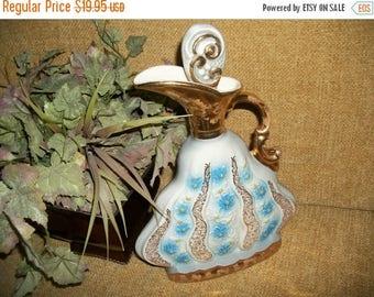 Decanter Jim Beam Whiskey Liquor Bottle Urn Ewer Pitcher by Regal China Gold Embellished Blue Floral Design