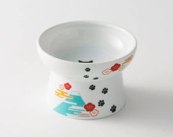 From Japan Nekoichi Ceramic Cat Food Bowl Large Size Fuji