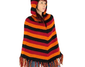 ON SALE Ethnical woolen poncho, red, orange and black scratches, hooded warm poncho, colored poncho, pixie, hippie, festival, tribal, trance