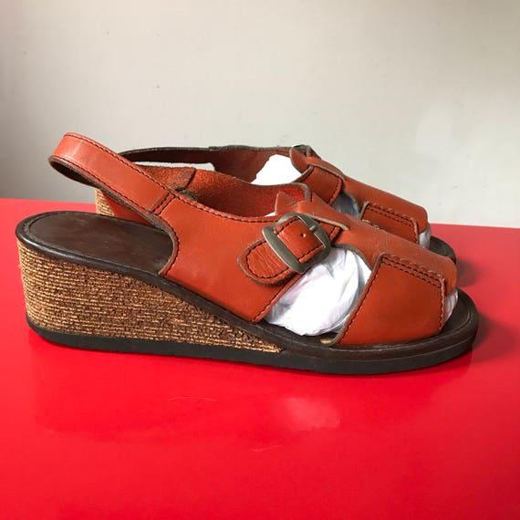 1970s wedge sandals slingback orange leather shoes 70s wood look wedgie heel UK4 US 6.5 boho vaction holiday festival 40s feel hippie