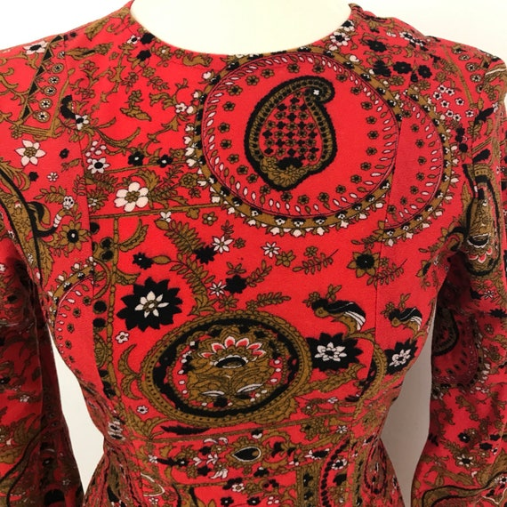 Mod Max8 dress 1960s red paisley long dress UK 6 8 psychedelic brushed nylon frock hippie  festival