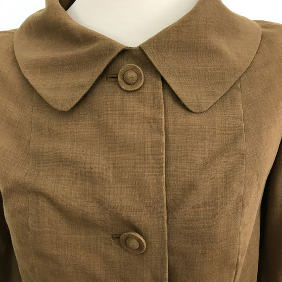 Vintage jacket 50s top 1950s tailored boxy jacket gold khaki 60s wedding outfit Goodwood Revival silk UK 10 pin up Jackie O look