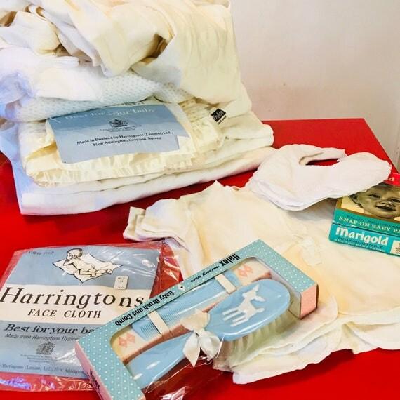 1950s baby lot newborn bundle baby robe blanket muslin brush nappies sleep suits 50s unused NOS 0 3 months