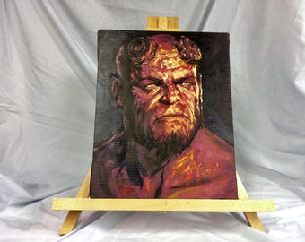 """HELLBOY   Hand Painted    Acrylic Paint on Stretched Canvas    12"""" x 15"""""""