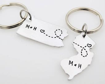 SALE Personalized Long Distance Love State Key Chains Long Distance Love LDR  Hand Stamped  choose your states and initials going away gift