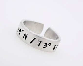 Hand stamped LDR Ring  Coordinates  Long Distance Gift  Gift for Couple Gift for Friends  LDR  Long Distance Love