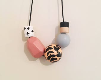 Handpainted Wooden Bead necklace | peach vines and dusty pink geometric | READY TO SHIP