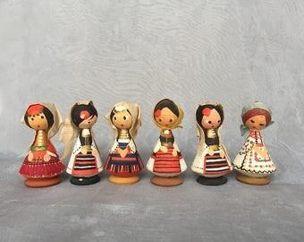 Yugoslavian Folk Dolls - Vintage Wooden Dolls - Miniature Wood Figurines - Yugoslavia Dolls - Folk Art Doll Decor - Wooden Figurine People