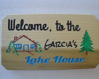 Reclaimed carved wood sign, Welcome To The Lake House, Made to order, Personalized carved wood sign. Lake house / cabin wall decor
