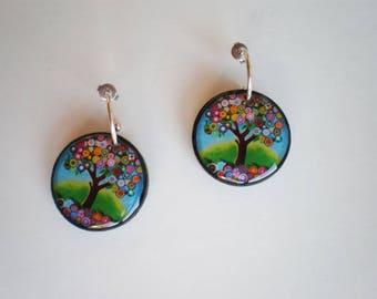 Tree of life earrings, Resin earrings, Earrings artwork, Round earrings, gift for her, woman gift, gift idea, tree of life