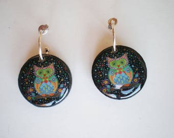 Owl earrings, Resin earrings, Earrings artwork, Round earrings, gift for her, woman gift, gift idea, owls