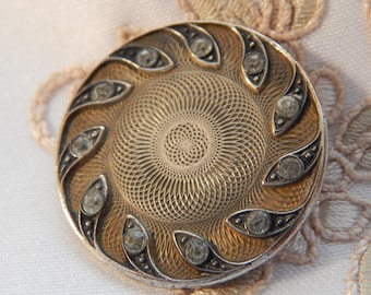 Antique Turned Brass Button with Silvered Back and ront wth Rhinestones