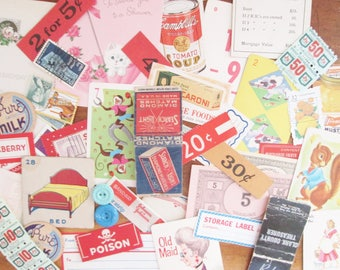 Vintage Paper Ephemera Pack 50 Piece Grab Bag of Small Vintage Embellishments Stamps Game Cards Shelf Tags Collage Supplies Scrapbooking