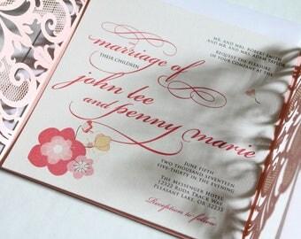 Elegant Spring Blossom Printed Wedding Invitation Suite, Floral Wedding Invitation, Romantic Laser Cut Lace - Pink Asian Vietnamese Sample